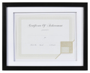 Gallery Solutions Wood Document Frame with Airfloat Mat, 28cm by 36cm , Black