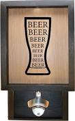 Wooden Shadow Box Bottle Cap Holder 23cm x 38cm with Bottle Opener - Beer Beer Beer in Glass