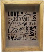 Wooden Shadow Box Wine Cork/Bottle Cap Holder 23cm x 28cm - Love Love Love