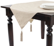 SARO LIFESTYLE H555 Simplicity Square Table Toppers, 140cm , Taupe