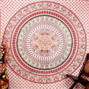 Kaleidoscopic Indian Ethnic Elephant White Orange Peacock Hippie Hippy Blue Mandala Cotton Tapestry Wall Hangings Throw 220cm x 240cm