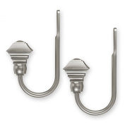 Source Global Unique Square Style Holdbacks, Pewter, Set of 2