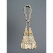 India House 79599 Jhalar Tieback with 25cm Double Tassel and 90cm Cord, Beige