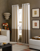 Curtainworks Kendall Colour Block Grommet Curtain Panel, 130cm by 210cm , Ivory