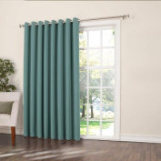 Sun Zero Barrow Extra Wide Room Darkening Patio Curtain Panel, 250cm by 210cm , Solid, Mineral