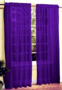 New 2 Pc Sexy Sheer Voile Window Curtain Panel Set Dark Purple
