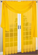 Scarf Sheer Voile 150cm x 550cm Solid Yellow By Royal Luxury Linen