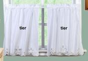 Battenburg Lace Kitchen Curtain 60cm L Tiers WHITE