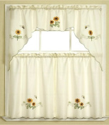 3pc Beige with Yellow Sunflower and Butterfly Kitchen/Cafe Curtain Tier and Swag Set