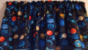38cm long x 110cm wide Unlined WINDOW CURTAIN VALANCE MADE FROM Outer Space Sky Stars Moon FABRIC