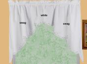 Battenburg Lace Kitchen Curtain 100cm L Swags WHITE