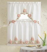 B & H Home Glory Floral Embroidered 3-Piece Kitchen Curtain Window Treatment Set