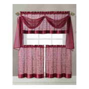 Vine Embroidered Kitchen Window Curtain Set- 1 Valance with Voile Scarf, 2 Tier Panels