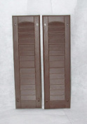Louvred Shed Shutter or Playhouse Shutter, Brown 15cm X 50cm , 1 Pair