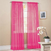 MONAGIFTS HOT PINK colour Voile Window Panel Solid sheer valance curtains 240cm long
