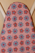 Checkys Deals Pink with Pink and Blue Flowers Wide Top Ironing Board Cover and Fibre PAD Fits 46cm X 120cm