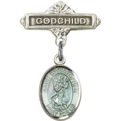 Sterling Silver Baby Badge with Blue St. Christopher Charm and Godchild Badge Pin 2.5cm X 1.6cm