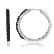 Sterling Silver 1/4cttw Black Diamond Hoop Earrings