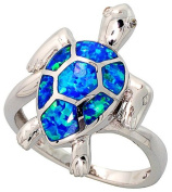 14K White Gold Plated Sterling Silver Synthetic Opal Inlay Sea Turtle Ring For Women 22MM