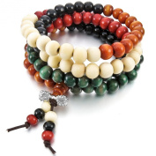 Women,Men's 8mm 108 Wood Bracelet Link Wrist Necklace Chain Tibetan Buddhist Colourful Multicolor Sandalwood Bead Prayer Buddha Mala Elastic