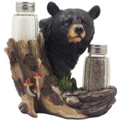 Black Bear Glass Salt and Pepper Shaker Set Sculpture Kitchen Decor in Rustic Lodge and Cabin Figurines & Decorative Gifts for Chicago Bears Fans