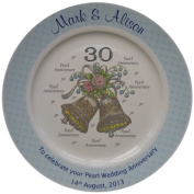 Personalised Pearl Wedding Anniversary Plate with a blue rim - Bells + 30 design