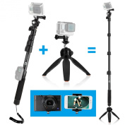CamKix Premium 3in1 Telescopic Pole 16 - 120cm and Tripod Base Kit - Compatible with GoPro Hero 4, 3+, 3, 2, 1, Compact Camera and Smartphone - Extra Strong and Stable Lock System - Includes a High Quality Extendable Pole, Tripod Base Hand Stabiliz ..