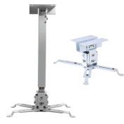Henxlco Universal Extendable Adjustable Tilt DLP LCD Ceiling Projector Mount Bracket White