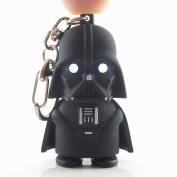 Darth Vader Light Up Key Chain - Tough Black Rubber Plastic Construction With Push Button Helmet to Activate Evil LED Eyes
