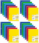Mead Spiral Notebook, Wide Ruled, 1 Subject, 70 Sheets, 20cm x 27cm , Assorted Colours (05510) Pack of 24