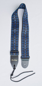 Guitar Strap Black Blue Brown Woven Nylon Solid Leather Ends Heavy Duty Tie Lace For Acoustic Electric Or Bass Made In U.S.A. Fast Handling & Shipping