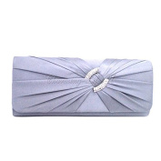Wocharm (TM)Satin / Lace Diamante Pleated Evening Clutch Bag BRIDAL WEDDING PARTY Many Colours to Choose