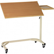 Nordic 2X-Large Beech Overbed Table with Side Board