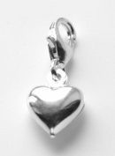 Silver 925 lovely puffed heart clip on charm ideal for Thomas Sabo bracelet or necklace