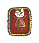 Brooch Cat Frame, Brown-Made from porcelain and Glass Beads-Costume Jewellery