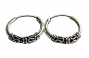 Sterling Silver 10 mm Bali Pattern Sleeper Hoop Earrings