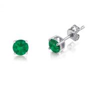 Kezef 1/4 TCW Basket Set Stud Earrings with Round 3mm Genuine Emerald - 925 Rhodium Plated