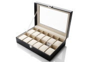 Zogin Aluminium 12 Grid Watches Jewellery Display Storage Boxes Case with Pillows Holders