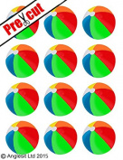 PRE-CUT BEACH BALL EDIBLE RICE / WAFER PAPER CUP CAKE TOPPERS PARTY DECORATION