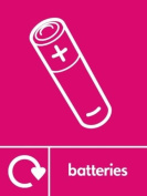 BATTERIES RECYCLING SIGN - Self adhesive vinyl 150mm x 100mm