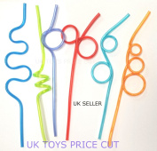 Curly/Wiggley Drinking Silly Straws 6 PCS /1Pack