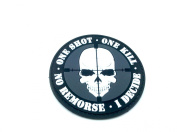 One Shot One Kill No Remorse I Decide Sniper PVC Airsoft hook and loop Patch