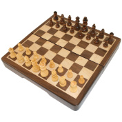 Frances 20.3 cm Chess Folding Magnetic Inlaid Wood Board Game with Wooden Pieces - Travel Size