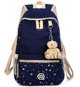 Adults Women's Fashion Star Pattern Canvas Haversack School Bag Outdoor Leisure Knapsack - Navy