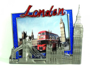 Metal Photo Frame - Pewter Effect Photoframe Detailing London Tower Bridge and Houses of Parliament - P189