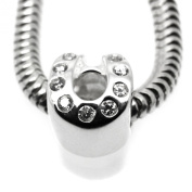 Horseshoe With Cz - Luck - 925 Sterling Silver European Charm Bead - Pandora style