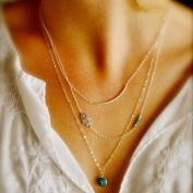 New Design Boho Hamsa Fatima Hand Evil Eye Bead Faux Turquoise Pendants Bib Necklace