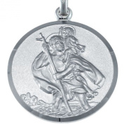 "Large Mens Heavy Sterling Silver St Christopher Pendant with 20"" Chain - 27mm"
