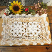 kilofly Crochet Cotton Lace Table Placemats Doilies Set, 4pc, Oblong, White, 38cm x 60cm