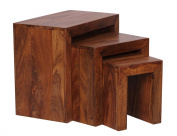 Wohnling WL1.205 Sheesham 3-Part Solid Wood Nest of Side Tables